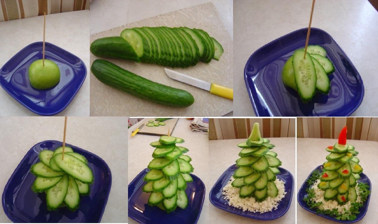 -Árbol-de-Navidad-pepino-para-decorar-mesa. Fuente:http://diciembrenavidad.com/