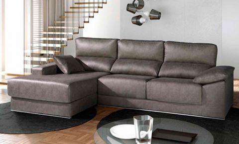 sof de tela con chaise longue asiento con relleno