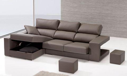 Sofá de chaise longue con arc³n y puffs en brazo de 3 plazas aqu