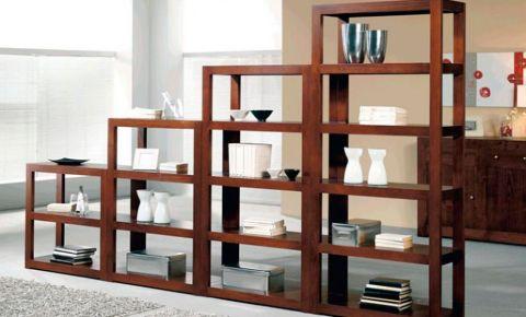 Conjunto de mueble librer a en madera maciza nogal con alturas for Mueble libreria