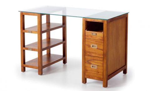 Escritorio de madera te ida maciza y cristal con cajones - Muebles de escritorio para casa ...