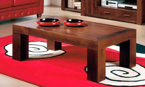 Mesa de centro color cerezo oscuro de madera y chapas te idas for Mesas de centro grandes
