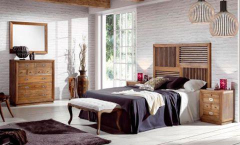Habitaci n de matrimonio vintage con cabecero c moda y for Comodas habitacion matrimonio