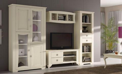 Sal n comedor de madera lacada color blanco roto cuatro piezas - Muebles de salon en blanco roto ...