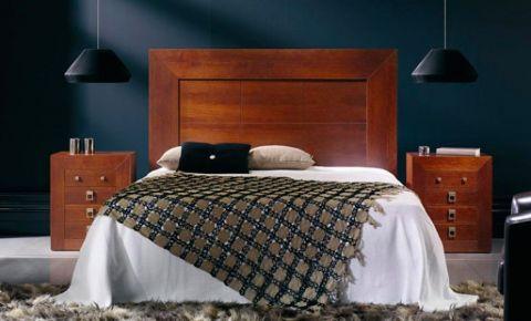 conjunto de cama en madera de roble